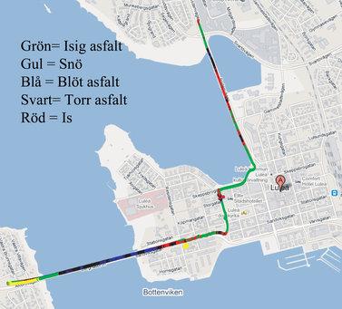 Körning på en vägsträcka i Luleå där forskarnas metod och